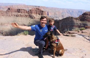 Dog training on the Grand Canyon